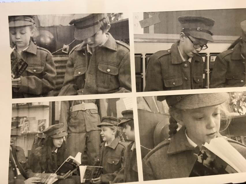 Moor Primary Young People in military uniforms in a play