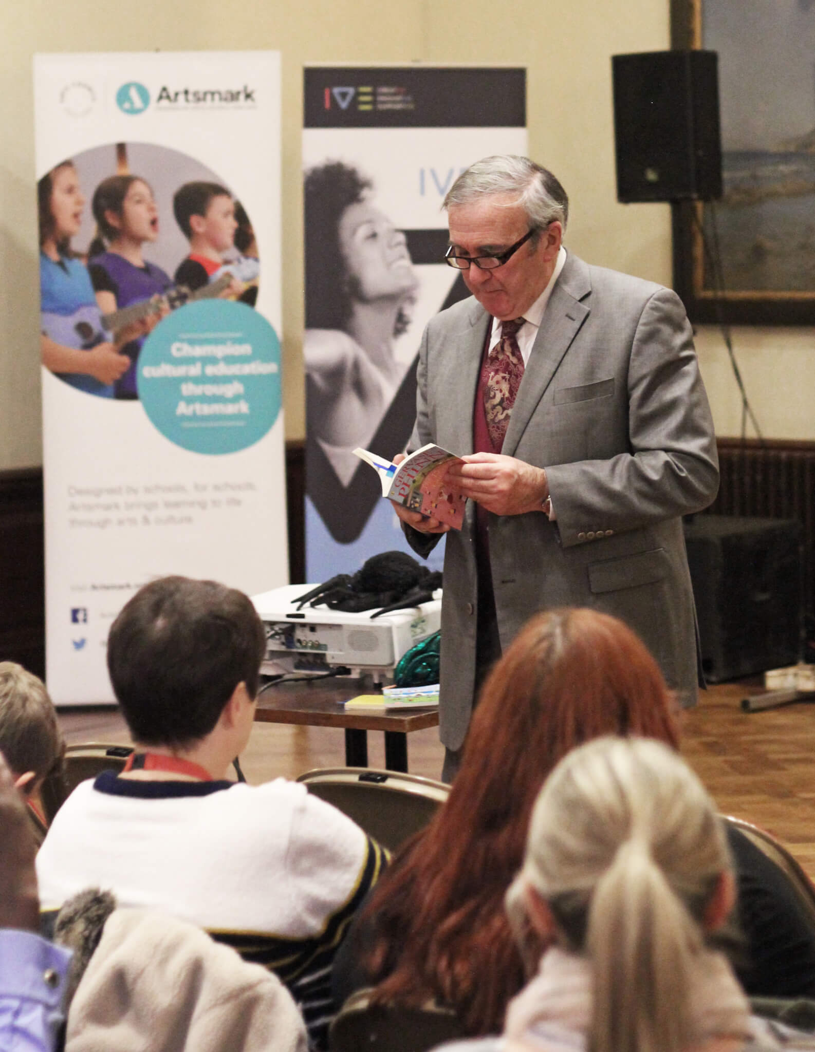 Gervaise Phinn delivering a speech at an Artsmark Celebration event