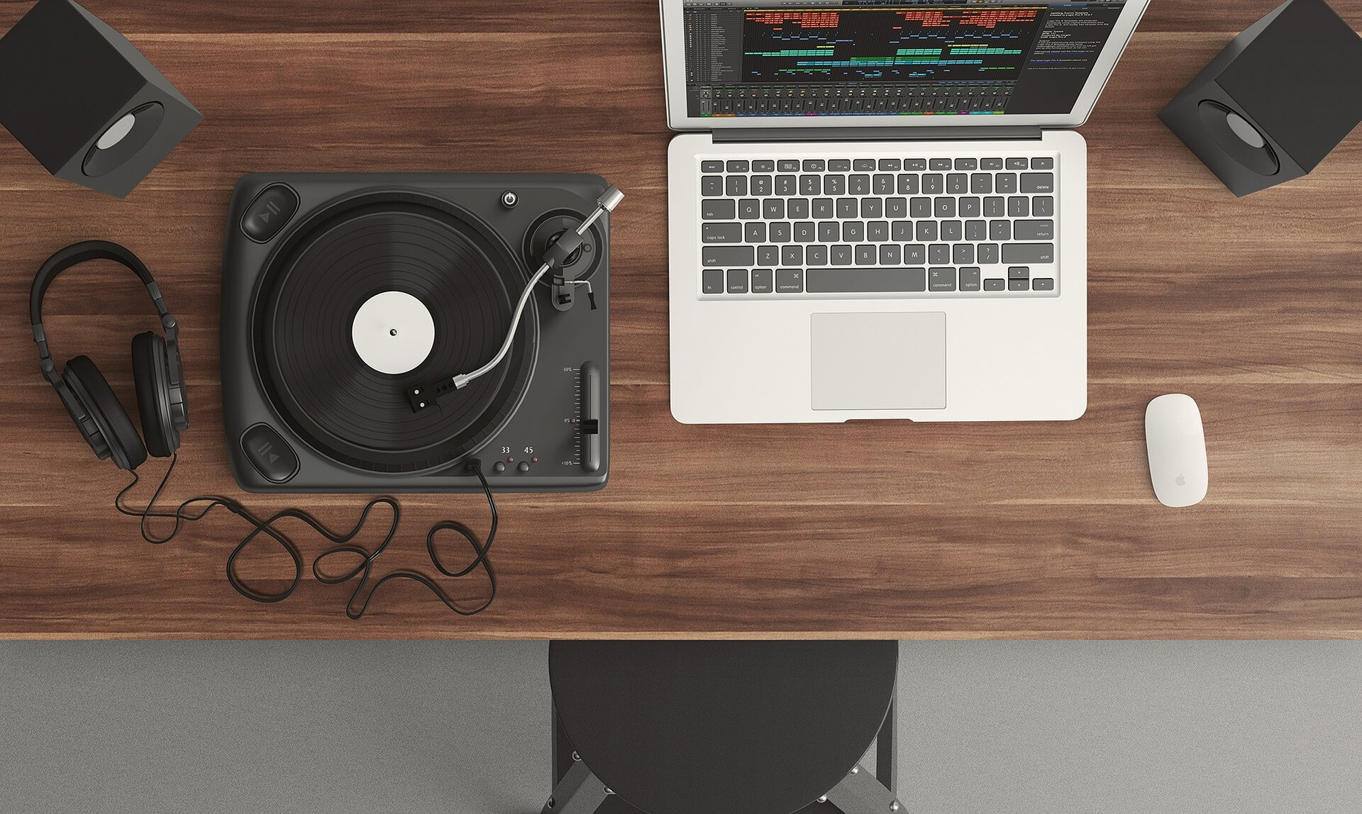 laptop and turntable