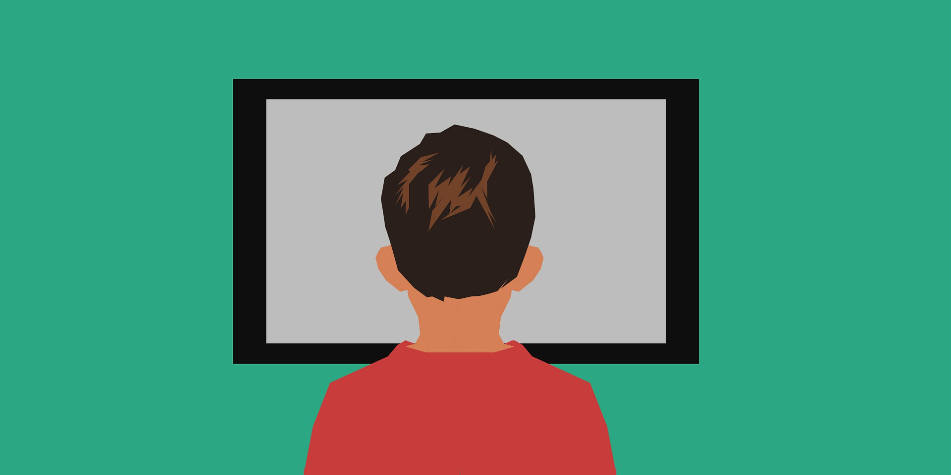 Boy watching a film screen