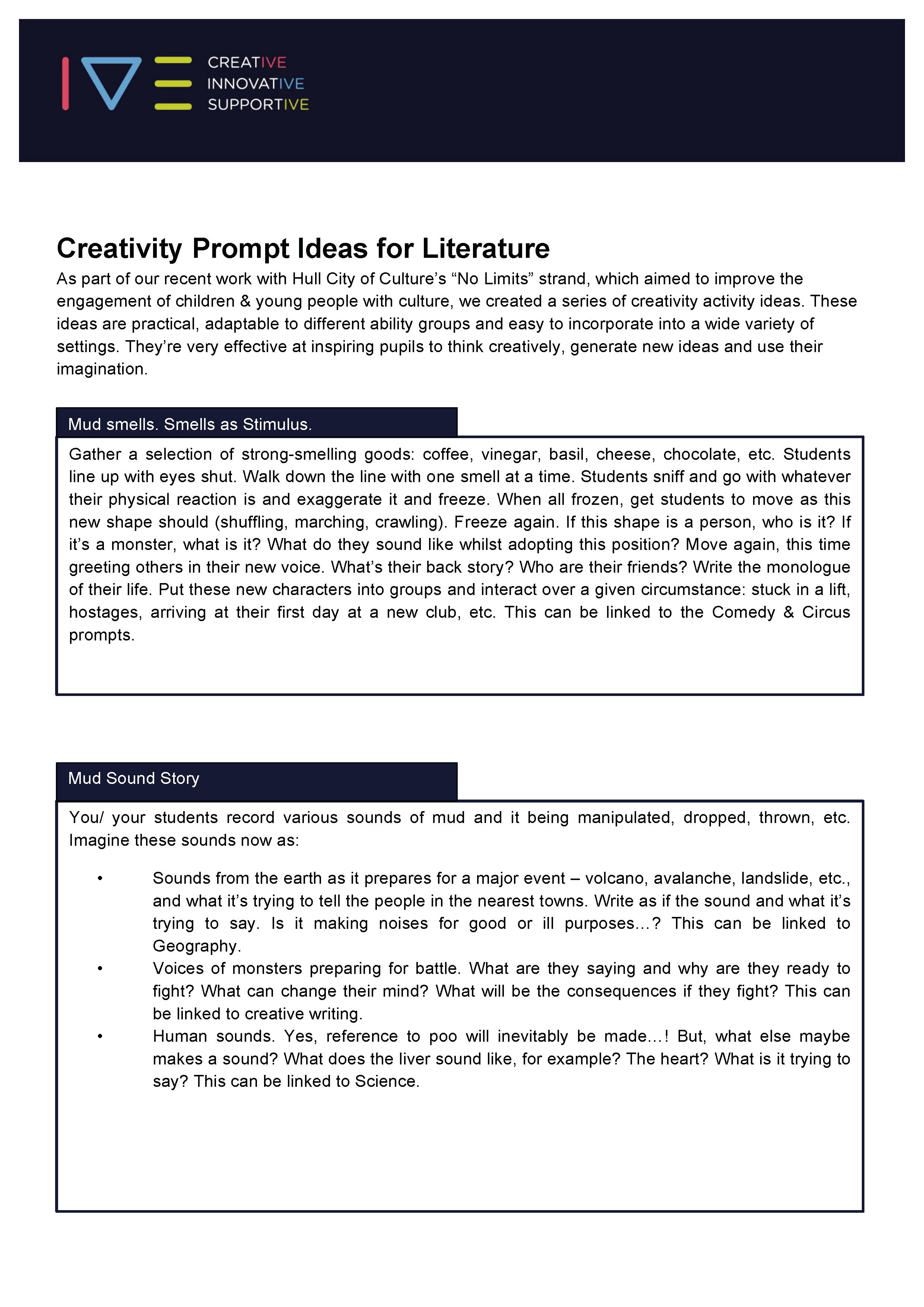 Creativity Prompt Ideas for Literature