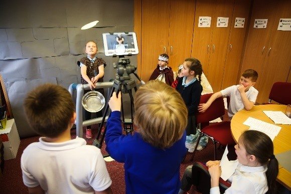 Pupils making their own video