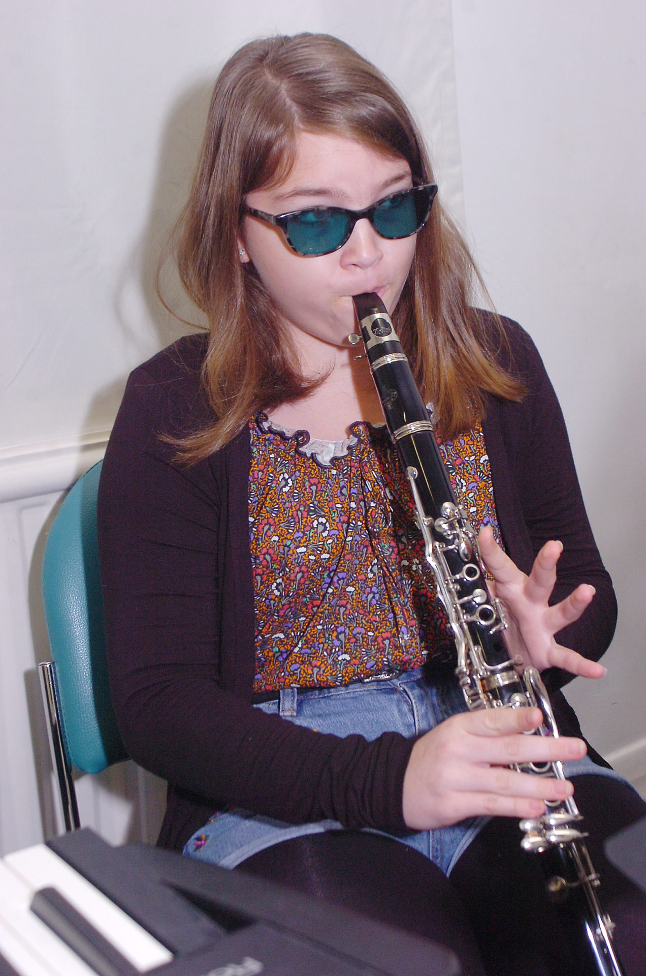 Castaway Goole girl practising the clarinet